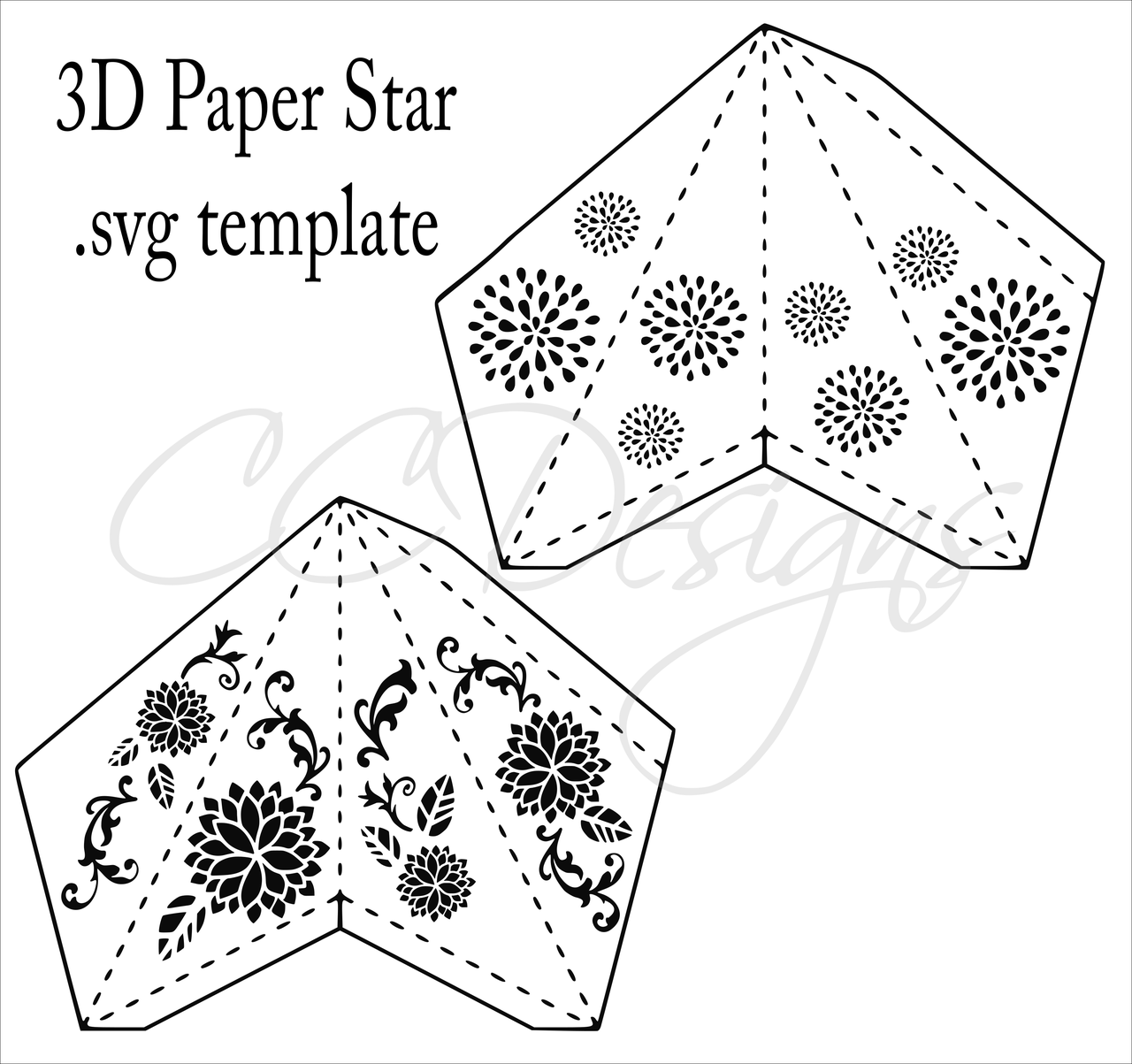 graphic about Star Printable Cutouts named 3D Paper Star Templates: Do-it-yourself Paper Star Craft SVG PDF Template