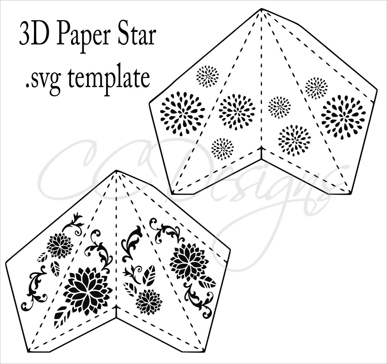 3d Paper Star Templates Diy Paper Star Craft Svg Pdf Template Catching Colorflies