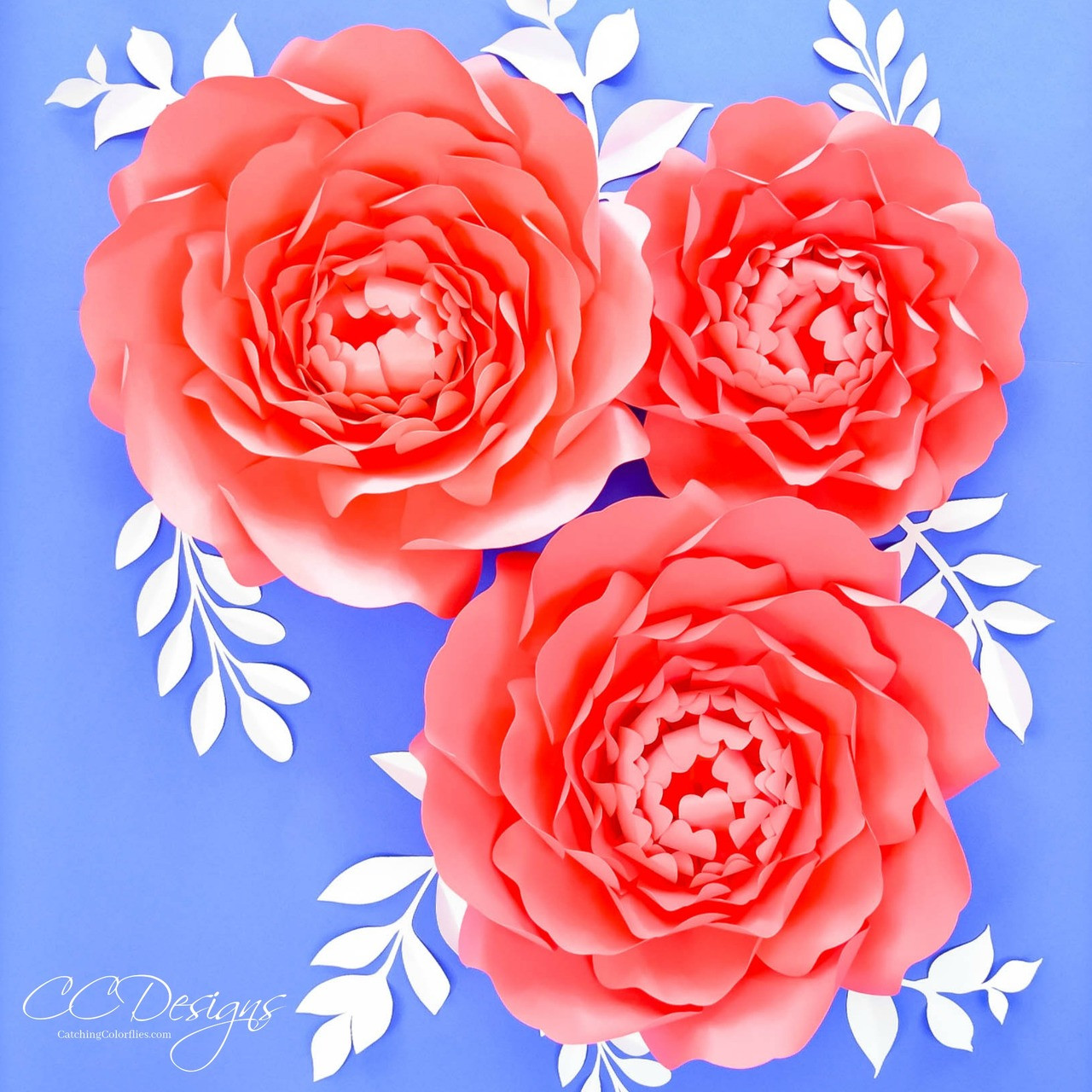 Peony Rose Template Giant Paper Rose Flower Template Catching