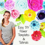 Set of 8 giant paper flower templates and instructions.
