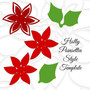 Small Holly Style Poinsettia Paper Flower Template