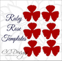 Small Ruby Rose Template with Ethereal Leaf Escort Cards