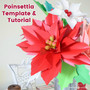 Snowy and Mistletoe Poinsettia Flowers Set of Two Templates