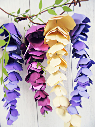 Hanging Paper Wisteria Tutorial & Templates