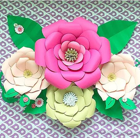 Set Of 2 Paper Flower Templates Everly Priscilla Style