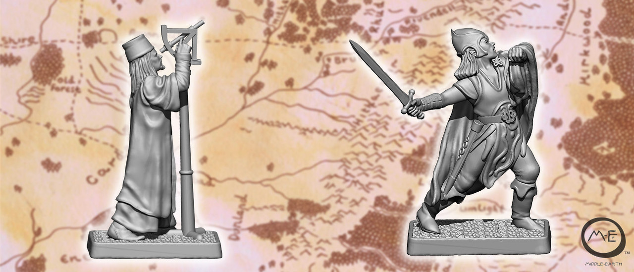 Gondorian Astrologer and Mirkwood Elf fighting aerial foe.