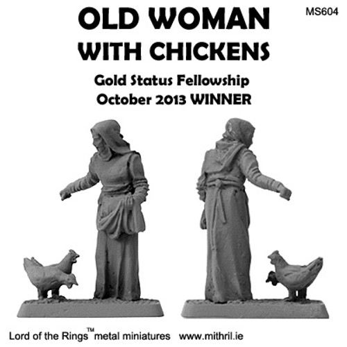 MS604 Old Woman with chickens
