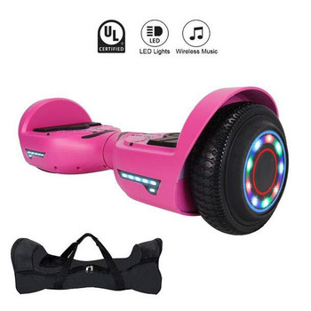 """Smartboard R8 6.5"""" Cool Hoverboard with LED Wheel, LED Top, Bluetooth, Free Bag - Pink (NN)"""