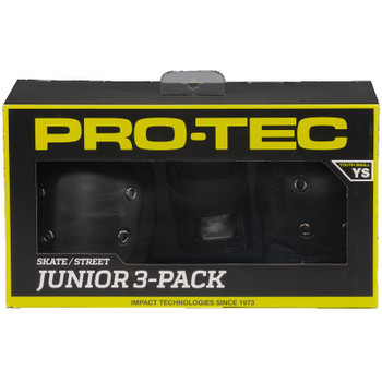 PROTEC JUNIOR - STREET GEAR 3 PACK - Matte Black - YOUTH SMALL