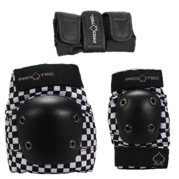 PROTEC JUNIOR - STREET GEAR 3 PACK - Black Checkered Design - YOUTH SMALL