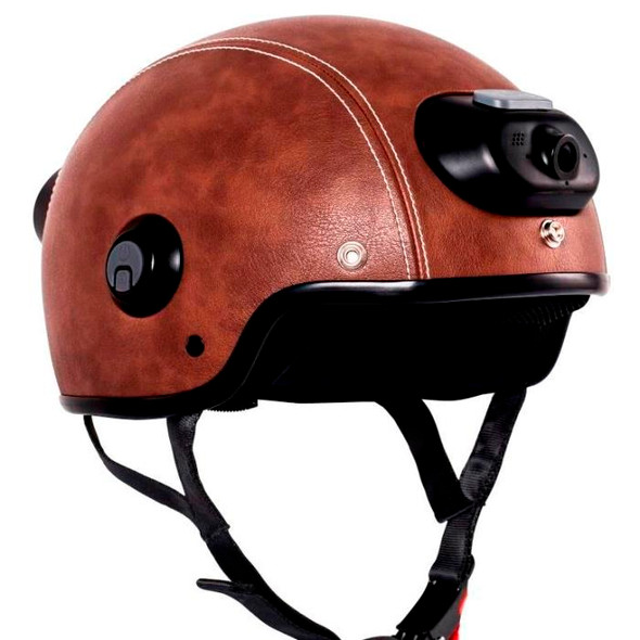 Airwheel C6 Smart Motorcycle Helmet with Built-in Camera & Speakers (Brown Leather)