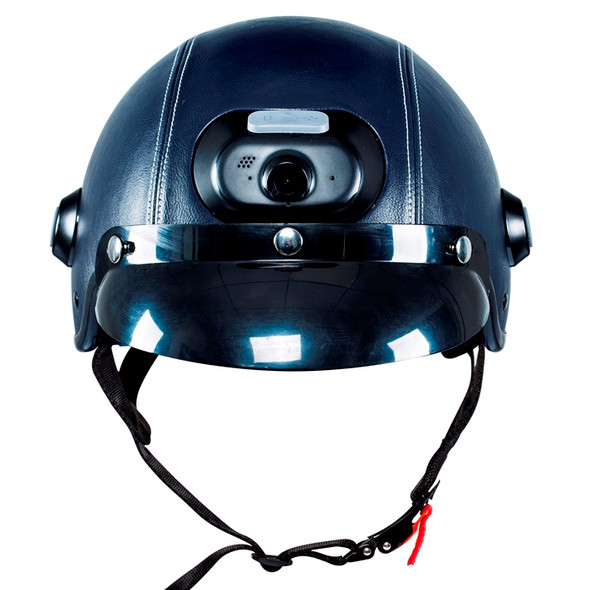 Airwheel C6 Smart Motorcycle Helmet with Built-in Camera & Speakers (Navy Blue Leather)