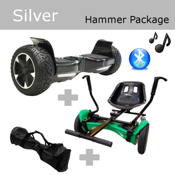 """Package Silver - 8"""" Bluetooth OFF-ROAD Hoverboard, SmartKart4 Drift Hoverkart & Carrying Bag"""