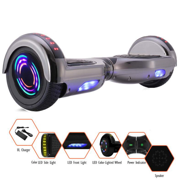 "Smartboard ""M1B Glarewheel"" - 6.5"" Chrome Hoverboard with LED Wheel, LED Fender, Bluetooth, Free Bag"