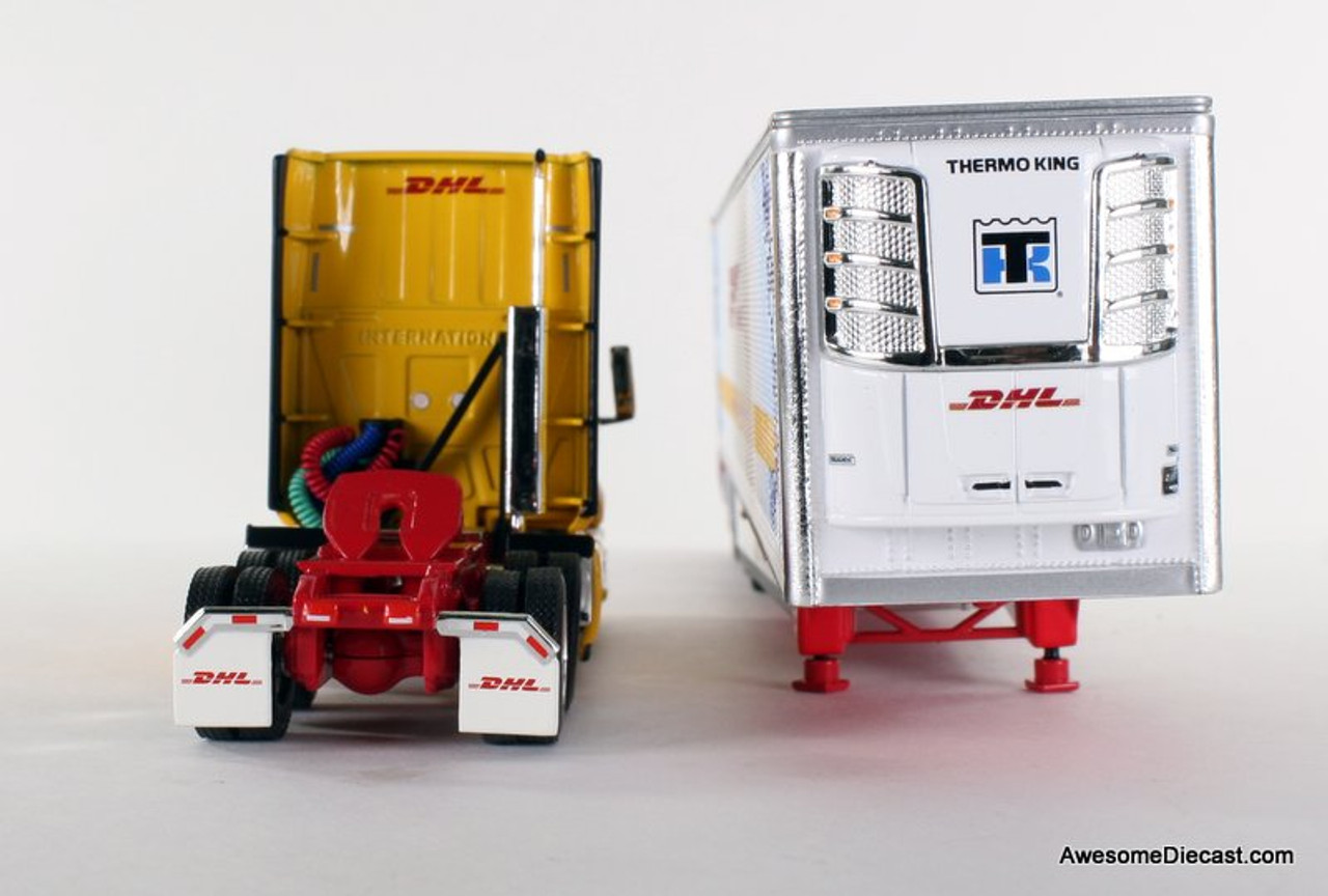 DCP 1:64 2018 International LT w/ Tri-Axle: DHL / Temperature Controlled Network 34207 Tractor Rear and Refrigerated Trailer