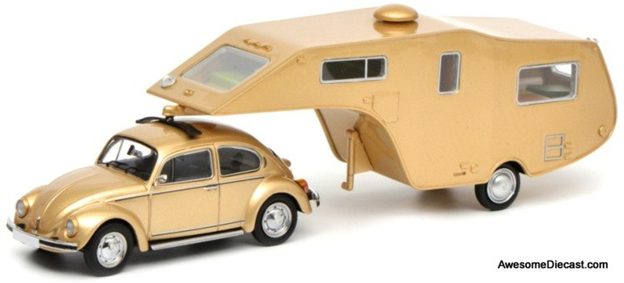 schuco  vw beetle   camping trailer light gold
