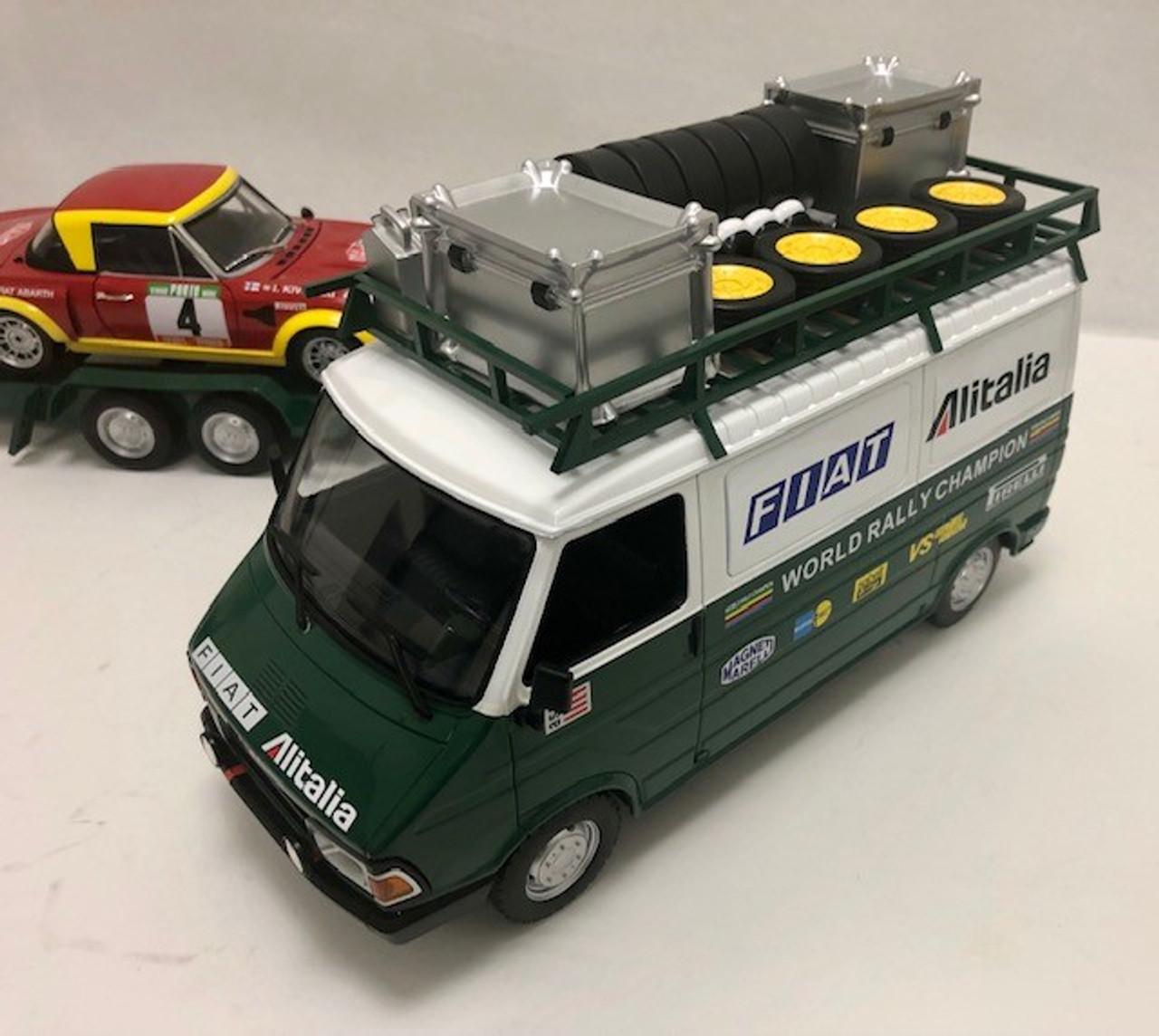 IXO 1:18 Fiat ducato 242 Van w/ Trailer and Fiat 124 Abarth Race Car: Alitalia Rally Team