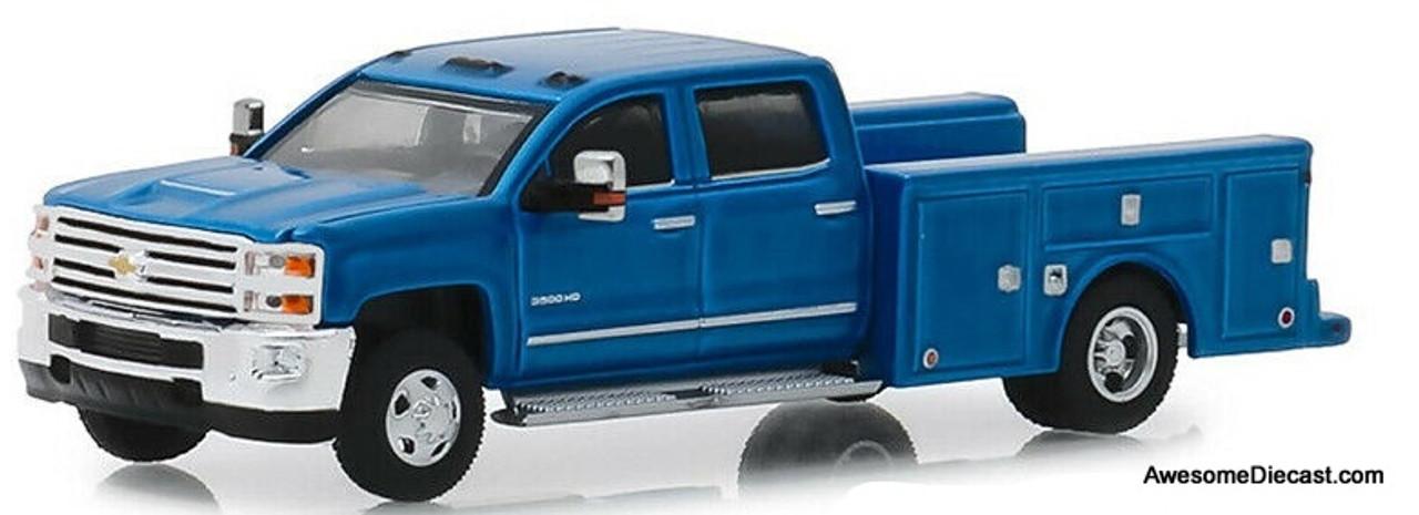 Blue Chevy Silverado >> Greenlight 1 64 2018 Chevrolet Silverado 3500hd Ocean Blue