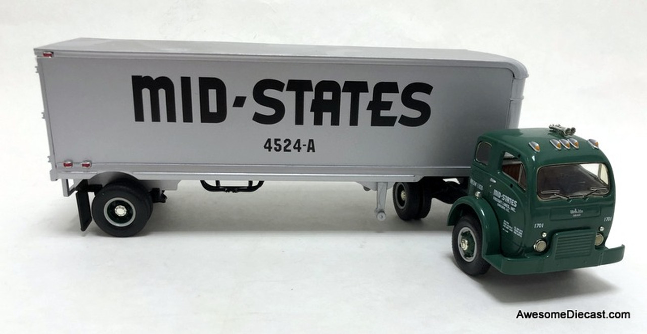 First Gear 1:34 1953 White 3000 Tractor w/30' Trailer: Mid-States Freight Lines