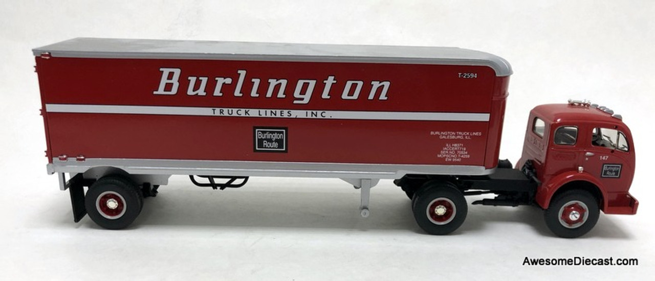 First Gear 1:34 1953 White 3000 Tractor w/30' Trailer: Burlington Route