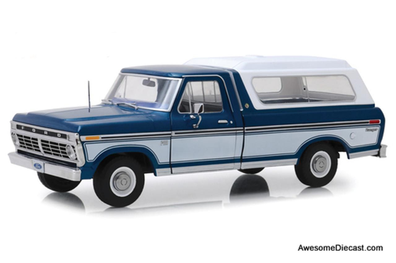 Greenlight 1:18 1975 Ford F-100 Pick Up, Midnight Blue/ Wimbledon White