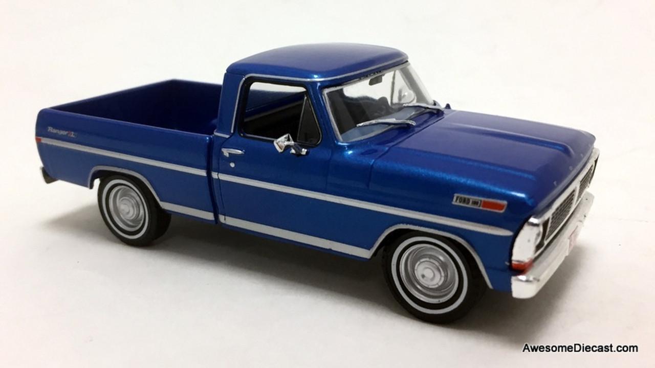 Greenlight 1:43 1970 Ford F-100 Ranger Pick Up, Metallic Blue