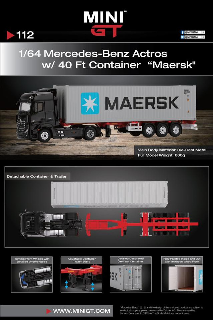 MiniGT 1:64 Mercedes-Benz Actros w/ 40' Container: MAERSK