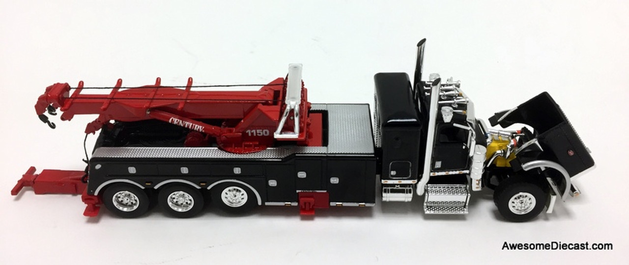 "DCP by FG 1:64 Peterbilt 389 36"" Sleeper w/Century  Rotator Tri-axle Wrecker, Black"