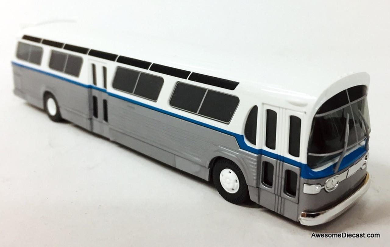 Weiss//Silber H0 US Bus Fishbowl Busch 44511-1//87 Neu
