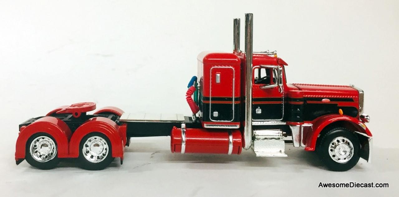 DCP by FG 1:64 Peterbilt 359 Sleeper Cab w/Polar Deep Drop Silver Tanker Trailer, Red/Black