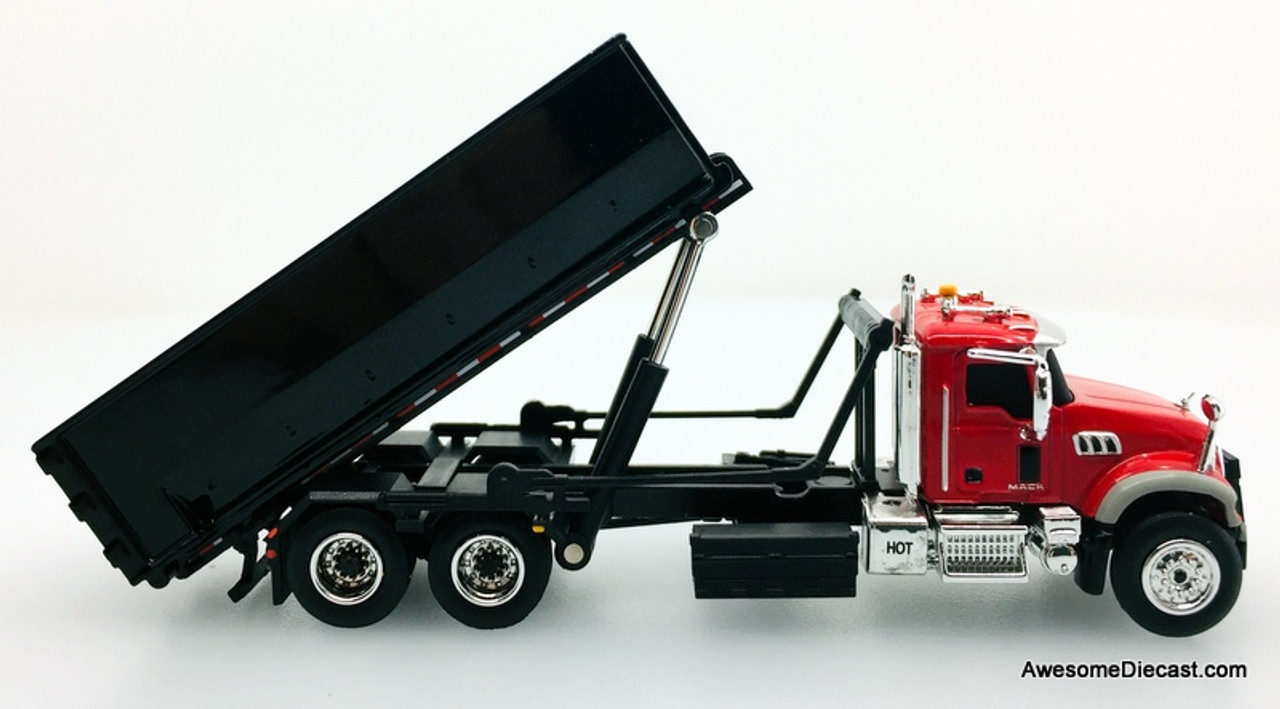 First Gear 1:87 Mack Granite Truck w/Roll-Off Container, Red/Black