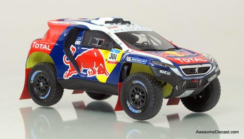 Spark 1:43 2015 Peugeot DKR Dakar Rally Car - Red Bull