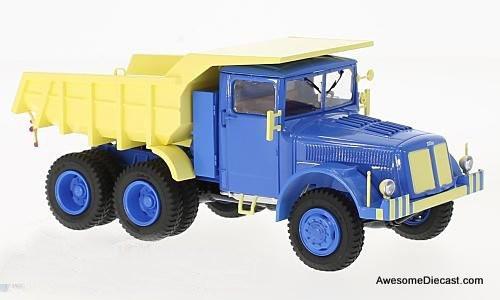 Premium ClassiXXs 1:43 Tatra 147 DC5 dump truck, blue/light yellow