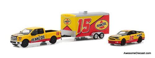 Greenlight 1:64 2015 Ford F-150 & 2012 Shelby GT500 Pennzoil w/Enclosed Car Hauler
