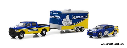 Greenlight 1:64 2017 Dodge RAM 2500 Pickup & 2017 Charger Hellcat Michelin Tires with Enclosed Car Hauler