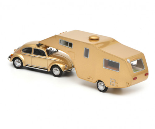 Schuco 1:43 VW Beetle 1200 w/ 5th Wheel Camping Trailer