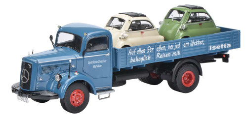 Schuco 1:43 Mercedes Benz L6600 Dropside Truck w/ Two Isetta Cars