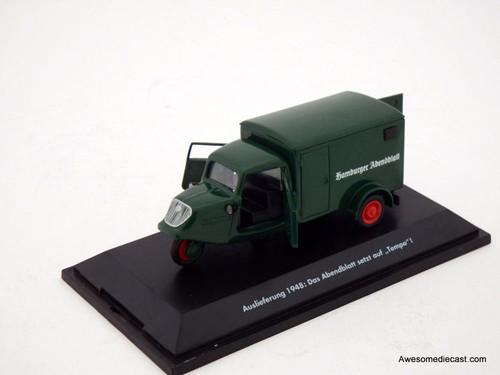 """Only One! Schuco 1:43 1948 Tri-Wheel Delivery Van: Hamburg """"Abendblatt"""" Newspaper"""