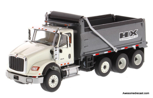 Diecast Masters 1:50 International HX620 Dump Truck in White with Gun Metal Grey Bed