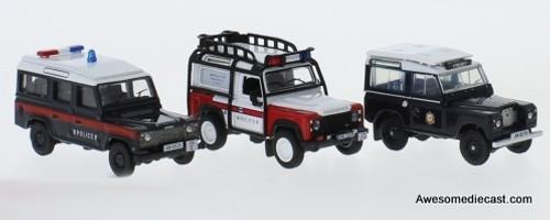 Oxford 1:76 Land Rover: Hong Kong Police Set of 3