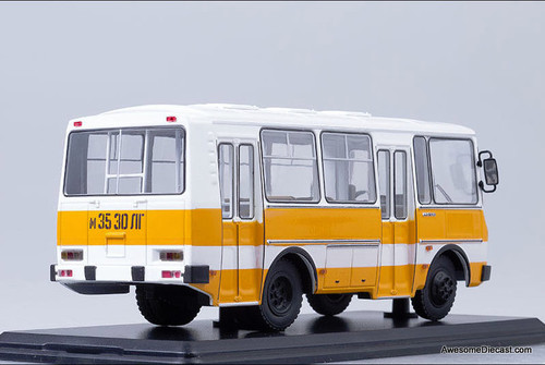 Only One! SSM 1:43 PAZ 32051 Russian City Bus, Orange/White