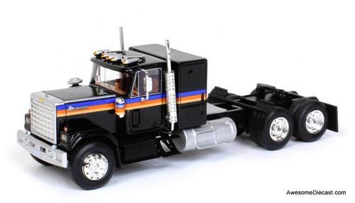 Advantage Diecast 1:64 1977 Chevrolet Bison Sleeper Cab Tandem Axle Road Tractor , Black