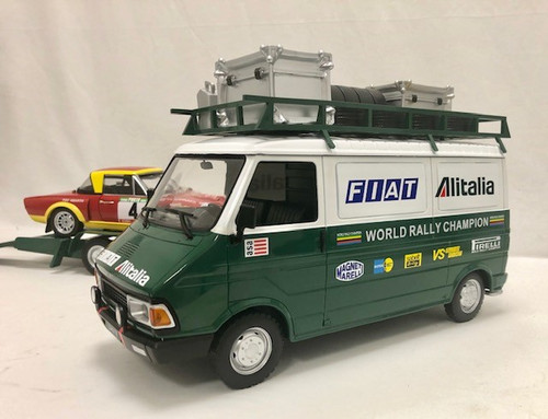 IXO 1:18 Fiat ducato 242 Van w/ Trailer and Fiat 124 Abarth Race Car: Alitalia Rally Team