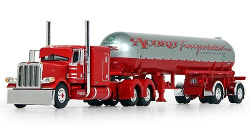 "DCP by First Gear 1:64 Peterbilt 389 63"" Flattop Sleeper w/ Mississippi Spread-axle LP Tanker Trailer: Acord Transportation - Red"