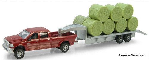 Ertl 1:64 Dodge Ram Pick Up with Trailer And Hay Bales