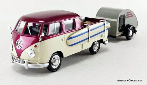 Motor Max 1:24 Volkswagen T1 Pick-Up With Tear Drop Trailer