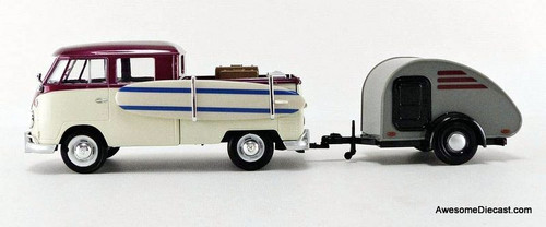 Motor Max 1:24 Volkswagen T1 Pick-Up With Tear Drop Trailer