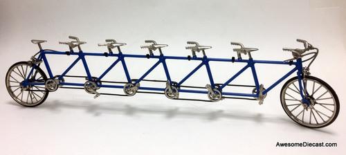 RARE!! Diecast 1:10 Six Rider Tandem Bike, Blue