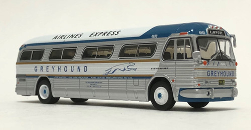 Iconic Replicas 1:87 GM PD4104 Coach: Greyhound Bus Lines / Airlines Express