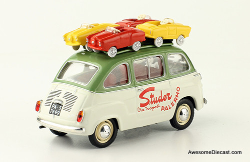 IXO 1:43 1959 Fiat 600  Multipla: Studer Palermo, With 4 Micro Cars